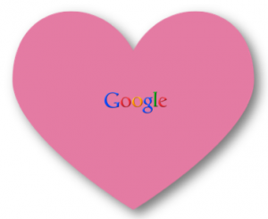 google logo in heart