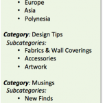 blog categories and tags, interior design blog
