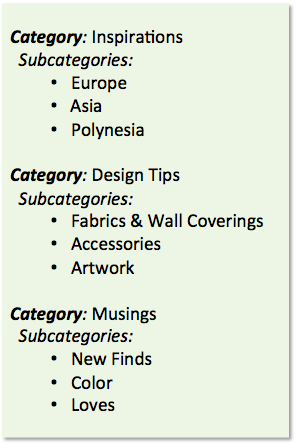 blog categories and tags, interior design blog, betsy kent, bevisible, be visible