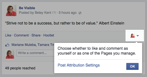Facebook page attribution, facebook marketing
